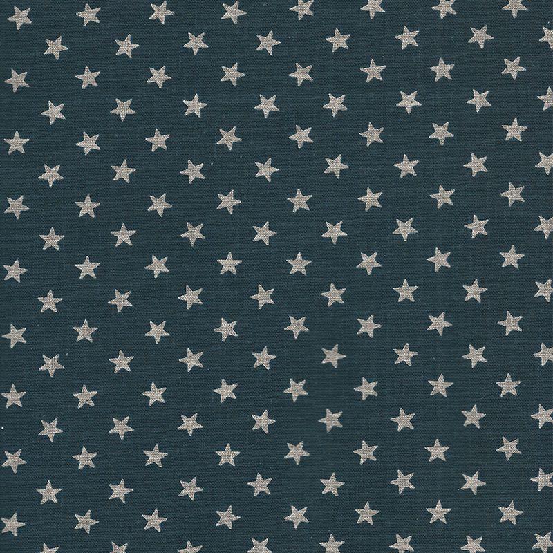 Tissu Coton Japonais Etoiles Argent Fond Bleu Marine Sudocoud