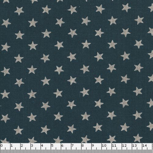 Tissu coton japonais étoiles argent fond bleu marine