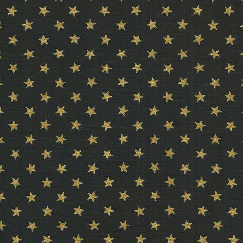 Tissu coton japonais étoiles or fond noir