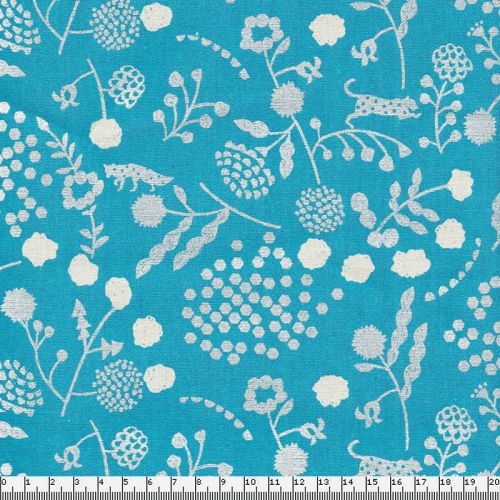 Tissu coton lin renards et léo argent fond bleu