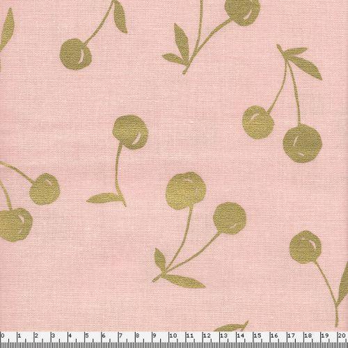 Tissu coton lin cerises dorées fond rose