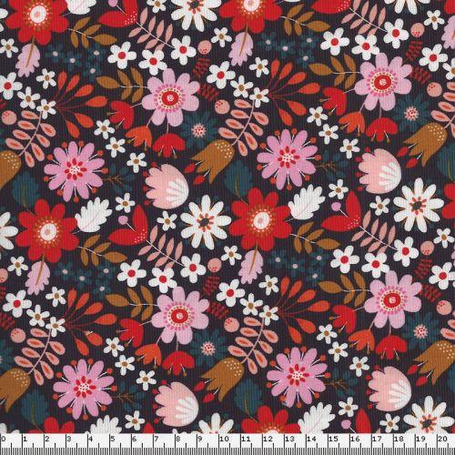 Tissu velours milleraies fleursfond brun Dashwood