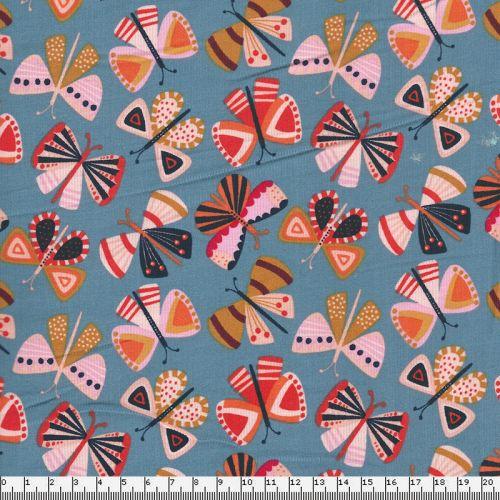Tissu velours milleraies papillons fond gris Dashwood