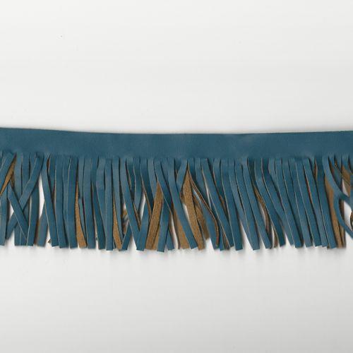 Franges simili cuir bleu canard