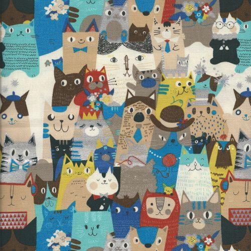 Tissu coton canvas foule de chats
