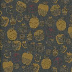 Tissu jersey épais pommes fond gris 65%cot/35%pol
