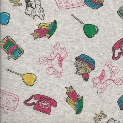 Tissu sweat roller skates glitter larg 150 cm 34%co/63%pol/3