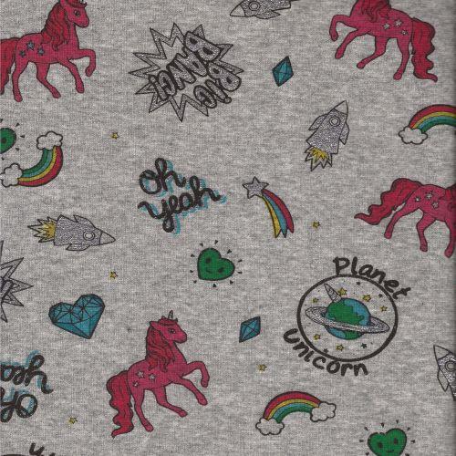 Tissu sweat licornes glitter fd gris larg 150 cm 34%co/63%po