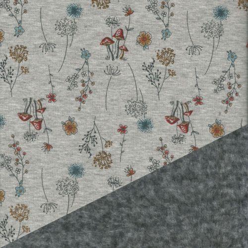 Tissu sweat minky imprimé motifs fleurs et champignons ambiance orangée