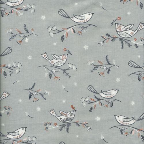 Tissu oiseau sur la branche glitter cuivre fond gris Dashwood Studio