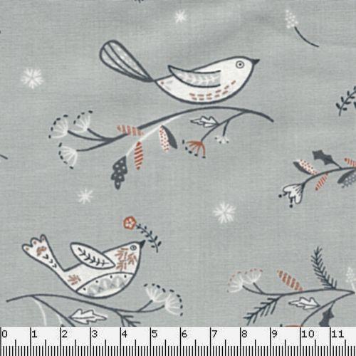 Tissu coton oiseaux sur branche feuillage glitter - Dashwood Studio