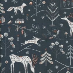 Tissu rennes glitter cuivre fond graphite Dashwood Studio