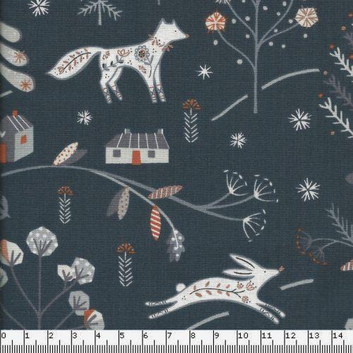Tissu animaux de la forêt ambiance glitter cuivré et fond graphite