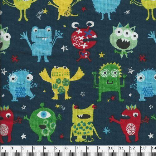 Tissu coton motif monstres rigolos multicolores fond bleu marine Dashwood