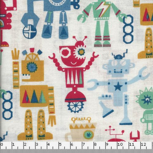 Tissu coton petits robots party multicolore Playtime - Dashwood