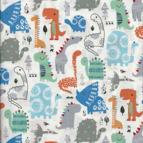 Tissu dinosaures fond blanc - Dashwood