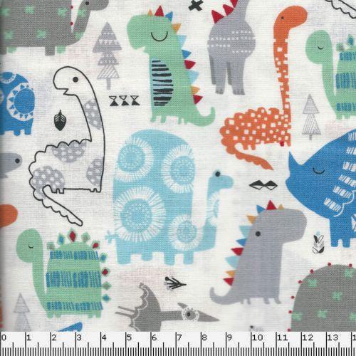 Tissu coton dinosaures mulicolores fond blanc - Dashwood - Playtime