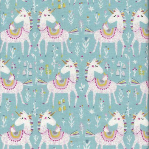 Tissu licornes arc-en-ciel fond bleu glacier Playtime -  Dashwood