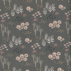 Tissu viscose Dashwood Studio fleurs roses fond gris