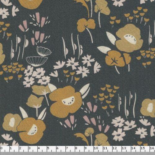Tissu fleurs moutardes fd gris larg 150 100% rayon
