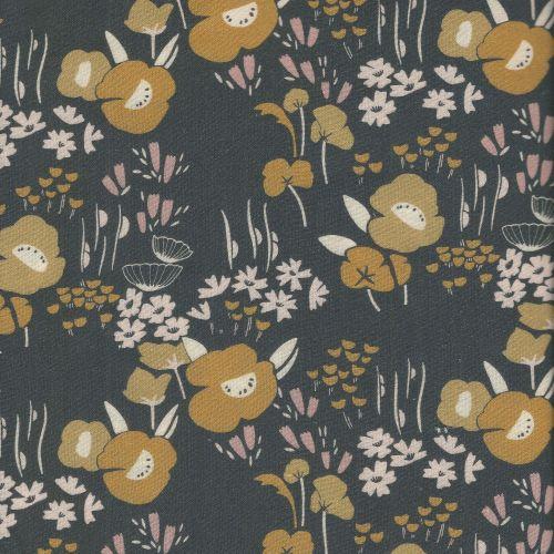 Tissu viscose Dashwood Studio fleurs moutardes fond gris/brun