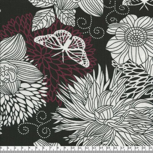 Tissu jersey grandes fleurs blanches et rouges larg 150 95%v