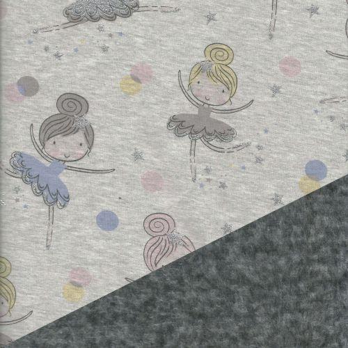 Tissu sweat envers minkee gris chiné foncé danseuses pastel et glitter