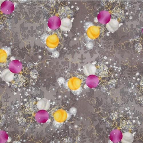 Tissu Décorations de Noël sur fond gris - Fabri Quilt