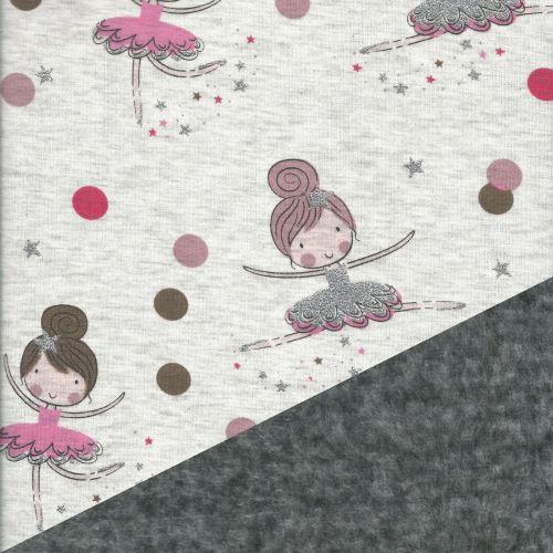 Sweat envers minkee gris chiné foncé danseuses rose et glitter