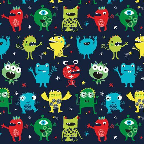 Tissu gentils monstres fond bleu - Dashwood