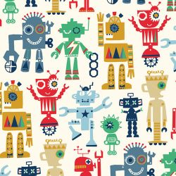 Tissu petits robots fond beige - Dashwood