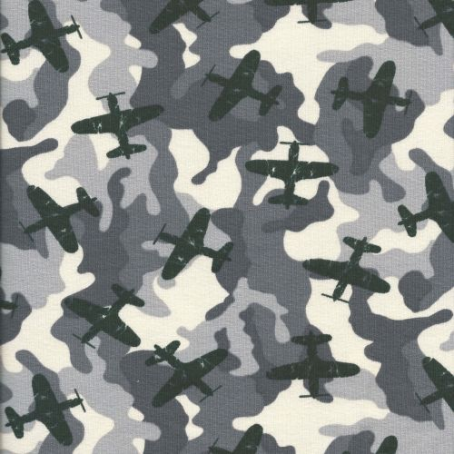 Tissu jersey army airplane larg 145 95%cot/5%el