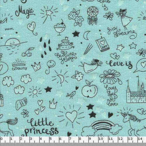 Tissu jersey little princess phospho fond vert 95%cot/5%el