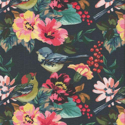 Tissu jersey grandes fleurs fond marine larg 150 95%cot/5%el