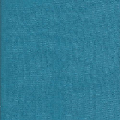 Tissu sweat bleu canard uni larg 150 70%cot/30%pol
