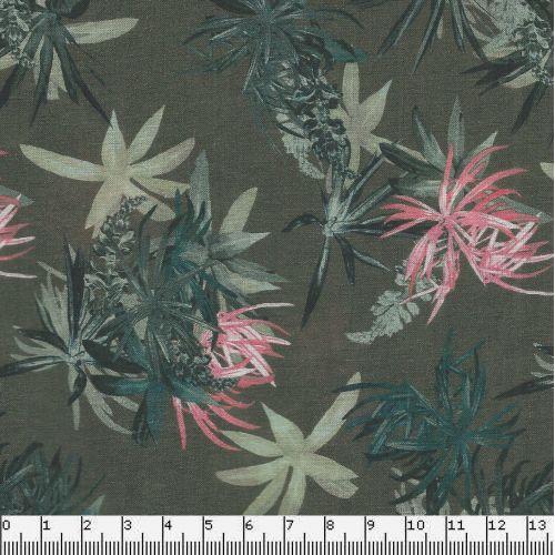 Tissu voile de coton kaki fleuri larg 140cm 100%coton