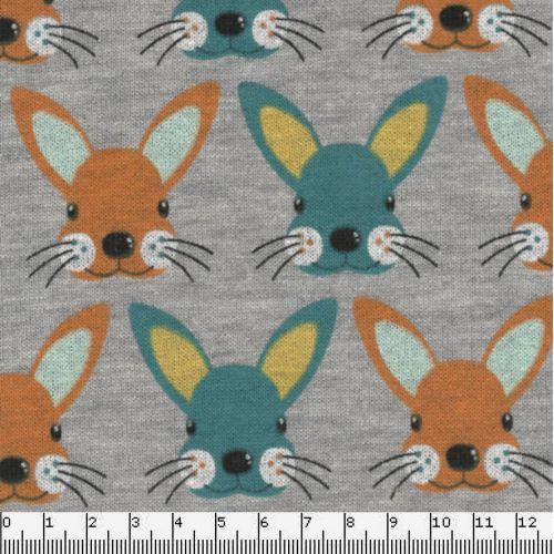 Tissu sweat léger bunnies orang/bleu fond gris 60%cot/40%pol