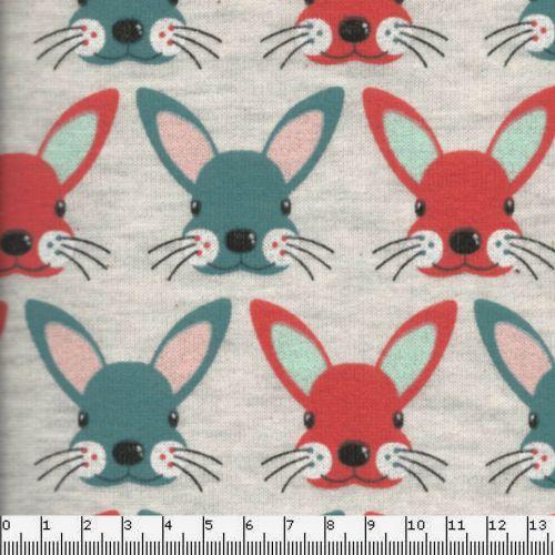 Tissu sweat léger bunnies corail/bleu fond beige 60%cot/40%p