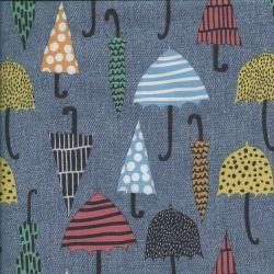 Tissu softshell parapluies fond bleu jean