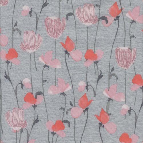 Tissu softshell fleurs roses fd gris larg 140 100%pol