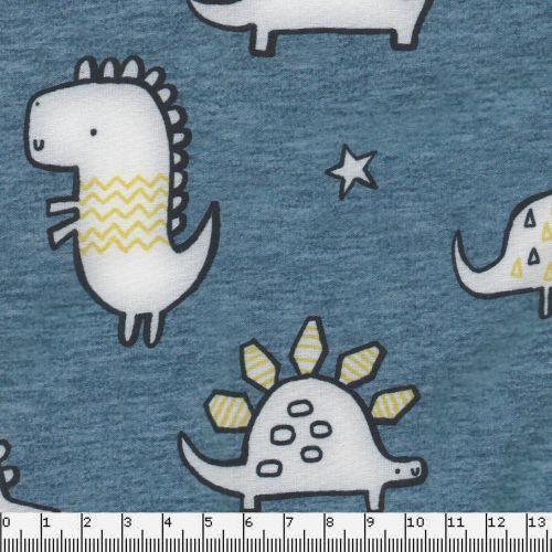 Tissu softshell doublé polaire avec un motif dinosaures fond bleu.