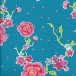 Tissu jersey sakura bleu turquoise fleurs rose
