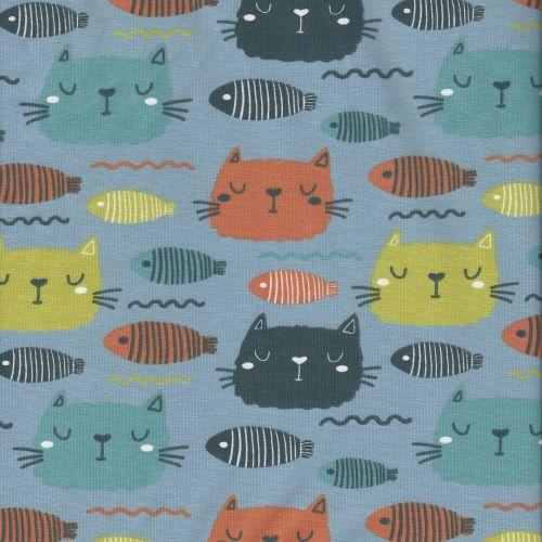 Tissu jersey poissons chats larg 150 95%cot/5%el