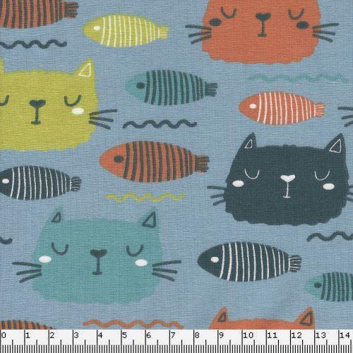 Tissu jersey motifs poissons et chats