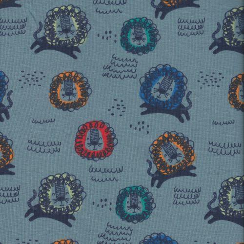 Tissu jersey lions multicolore larg 150 95%cot/5%el