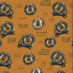 Tissu jersey lions moutarde larg 150 95%cot/5%el