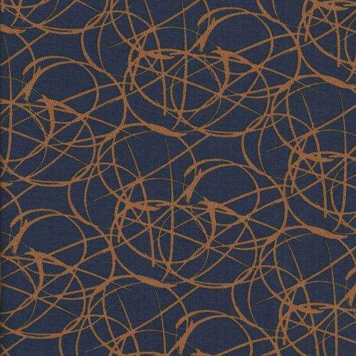 Tissu jersey graphique orange fd bleu 95%vi/5%el