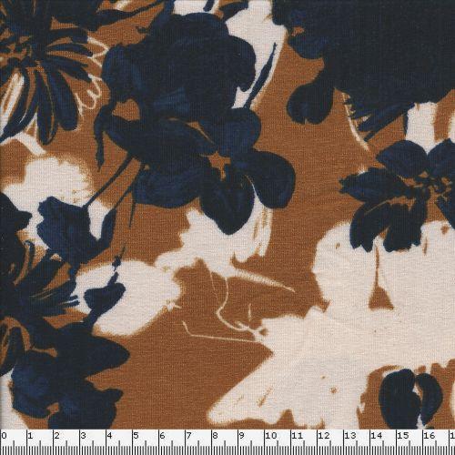 Tissu jersey fleurs marine et blanches fd moutarde 95%vi/5%e