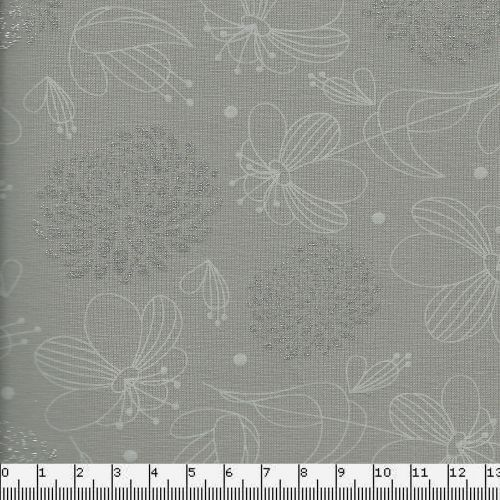 Tissu jersey fleurs glitter fd taupe larg 150 95%cot/5%el