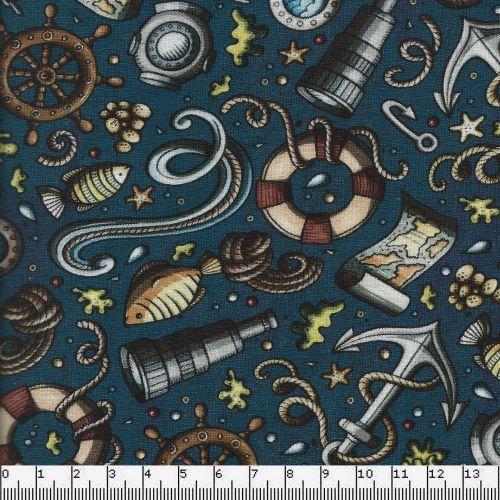 Tissu jersey explorateurs fond bleu